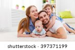 happy family mother  father and ... | Shutterstock . vector #397371199