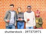group of best friends holding... | Shutterstock . vector #397373971