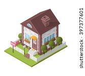 house  rent  garden  isometric  ... | Shutterstock .eps vector #397377601