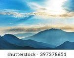 blue high mountains and sunset... | Shutterstock . vector #397378651
