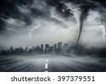 tornado on the business road  ... | Shutterstock . vector #397379551