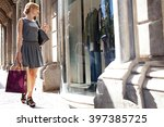 beautiful young tourist woman... | Shutterstock . vector #397385725