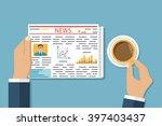 businessman reading a newspaper ... | Shutterstock .eps vector #397403437