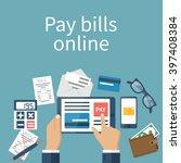pay bills online. online... | Shutterstock .eps vector #397408384