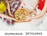 ordered pizza for a... | Shutterstock . vector #397414945