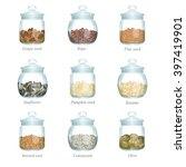 Nine Glass Jars With Oil Seeds...
