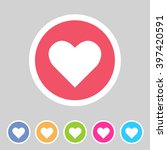 heart  love icon flat web sign... | Shutterstock . vector #397420591