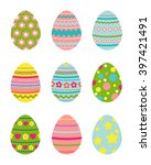 set of decorated easter eggs on ...   Shutterstock .eps vector #397421491