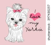 cute yorkshire terrier on a... | Shutterstock .eps vector #397430257