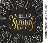 hello spring lettering with... | Shutterstock .eps vector #397441609