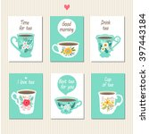 Tea Set Cards. Set Of Beautiful ...
