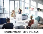 designer meeting colleague... | Shutterstock . vector #397443565