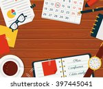 workplace background with space ... | Shutterstock .eps vector #397445041