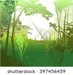 wild panoramic landscape with... | Shutterstock .eps vector #397456459