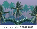 palm trees  tropical palm... | Shutterstock .eps vector #397475401