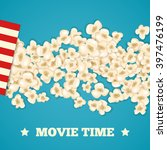 heap popcorn for movie lies on... | Shutterstock .eps vector #397476199