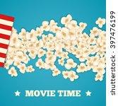 heap popcorn for movie lies on... | Shutterstock .eps vector #397476199