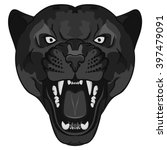 panther portrait. angry black... | Shutterstock .eps vector #397479091
