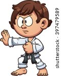 cartoon kid practicing karate.... | Shutterstock .eps vector #397479589