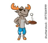 funny illustration of a moose... | Shutterstock .eps vector #397504999