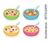 cute breakfast bowl set.... | Shutterstock .eps vector #397513495