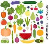 set of fresh healthy vegetables ... | Shutterstock .eps vector #397520689