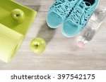 yoga mat with sport shoes and... | Shutterstock . vector #397542175