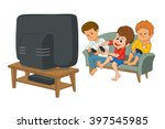 kids playing video games... | Shutterstock .eps vector #397545985