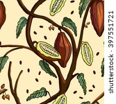 cocoa tree pattern. seamless... | Shutterstock .eps vector #397551721