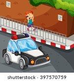 girl talking on the phone on... | Shutterstock .eps vector #397570759