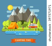 campsite place in mountain lake.... | Shutterstock .eps vector #397571971