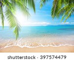 palm and tropical beach | Shutterstock . vector #397574479