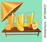 healthy drinks cartoon concept... | Shutterstock .eps vector #397583437