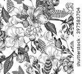 black and white vintage garden... | Shutterstock .eps vector #397583704