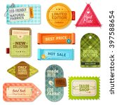 colorful handmade fabric label... | Shutterstock .eps vector #397588654