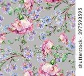 branch pink roses  blue flowers ... | Shutterstock . vector #397593595
