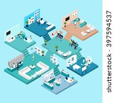 hospital icons isometric scheme ... | Shutterstock .eps vector #397594537