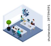 coworking employees sharing... | Shutterstock .eps vector #397594591