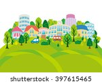 fun town of illustrations | Shutterstock .eps vector #397615465