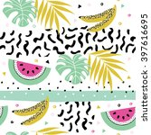 summer seamless pattern with... | Shutterstock .eps vector #397616695