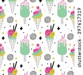 summer seamless pattern with... | Shutterstock .eps vector #397617319