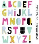 hand drawn creative alphabet ... | Shutterstock .eps vector #397617667