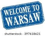 welcome to warsaw blue square... | Shutterstock .eps vector #397618621