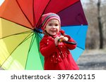 funny cute toddler girl wearing ... | Shutterstock . vector #397620115