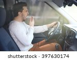 tired young man driving his car. | Shutterstock . vector #397630174