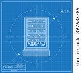 server cabinet vector blueprint ...
