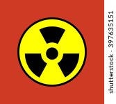 nuclear danger icon on the red... | Shutterstock .eps vector #397635151
