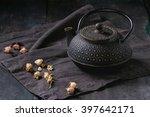 black iron asian style teapot... | Shutterstock . vector #397642171