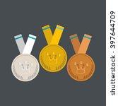 medals flat design. gold ... | Shutterstock .eps vector #397644709