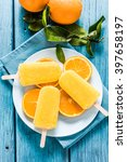 natural juice orange popsicle ... | Shutterstock . vector #397658197